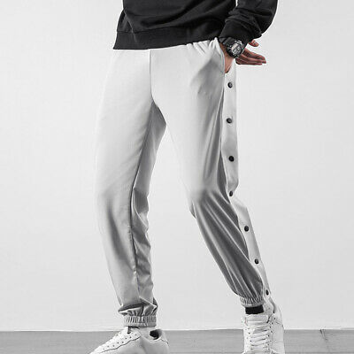 $ CDN38.20 • Buy Men Tapered Pants Side Full Button Athlete Sports Gym Basketball Loose Trousers