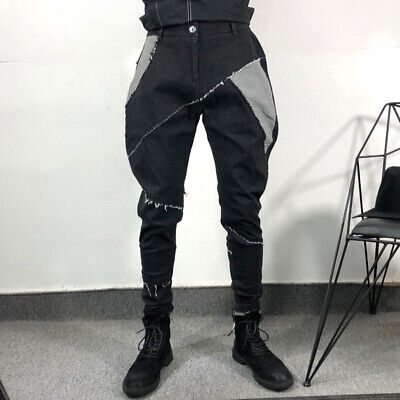 $ CDN68.55 • Buy Men Casual Denim Baggy Pants Horse Riding Breeches Tapered Patch Trousers Slim