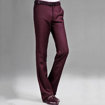 $ CDN51.62 • Buy Men Dress Pants Trousers Fitted Bell Bottom Formal Office Retro Casual Slim Thin