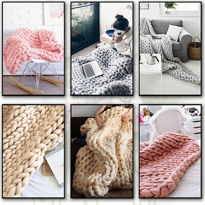 £16.95 • Buy New Soft Wool Chunky Cable Knit Hand Woven Sofa Bed Chair Blanket Throw UK