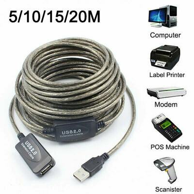 AU17.49 • Buy 5/10/15/20m USB EXTENSION Cable Lead Male To Female Extention High Speed 2.0