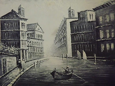 £19.95 • Buy Venice Canal Boat Large Oil Painting Canvas Black White Cityscape Contemporary