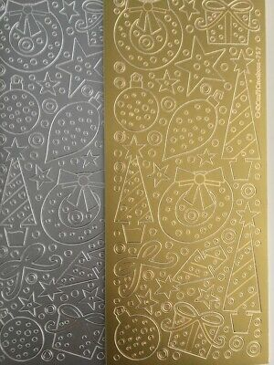 £2.19 • Buy Peel Off Stickers -  Christmas Decorations  -  Silver And Gold - 757