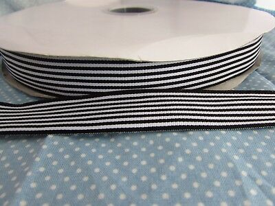 £2.50 • Buy 25mm Grosgrain Black And White Horizontal Stripe Ribbon In 2m, 5m, 10m And 20m