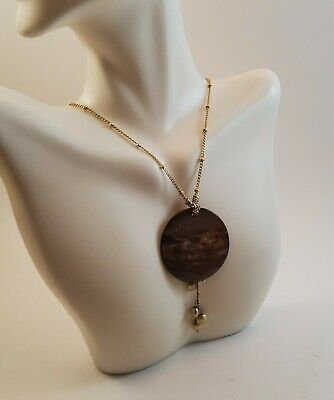$ CDN12.12 • Buy NWT Genuine Lia Sophia Gold Tone Necklace With Round Mother Of Pearl Pendant