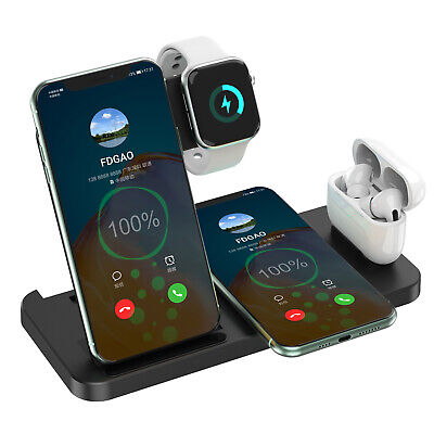 AU29.99 • Buy AU 4in1 Qi Fast Wireless Charger Dock Stand For IWatch 6/5/4/3/2 IPhone 12Pro 11