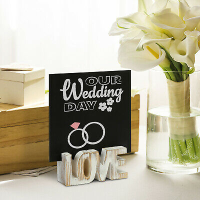 £15.93 • Buy Whitewashed Wood Love Letter Wedding Place Card Holders With Chalkboard Signs