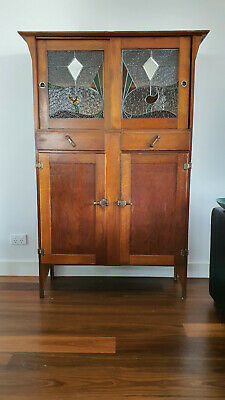 AU56 • Buy Antique Stained Glass Timber Cupboard