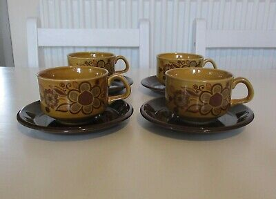 £12 • Buy Vintage Retro Royal Worcester Palissy  Sierra  Cup And Saucer X 4  (1970'S)