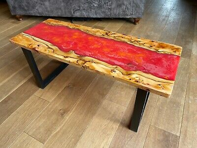 £295 • Buy Yew Resin River Coffee Table Art-deco Square Legs Red Yellow Molten Lava Flow