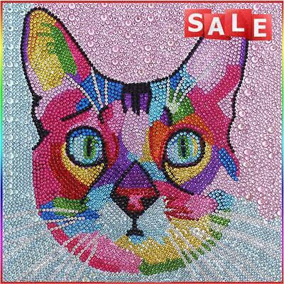 AU2.70 • Buy #QZO 5D DIY Colorful Cat Diamond Painting Full Special Shape Crystal (S10157)