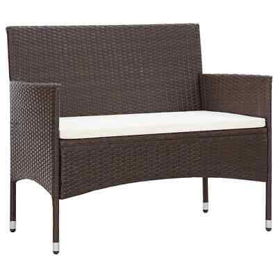 AU84.30 • Buy Garden Bench With Cushion Poly Rattan Brown