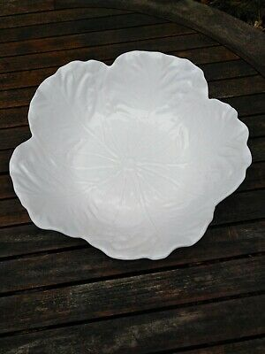£40 • Buy Vintage Bordallo Pinheiro Majolica Cabbage Leaf Bowl White Dish 11 +