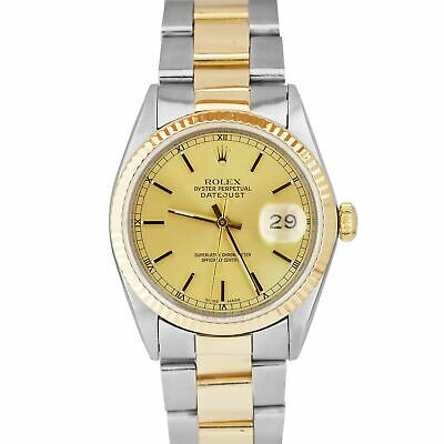 $ CDN6203.59 • Buy Rolex DateJust 36mm Two-Tone Yellow Gold Stainless Champagne Oyster Watch 16013