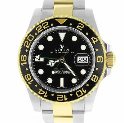 $ CDN15715.93 • Buy Rolex GMT-Master II Ceramic Black 18K Two-Tone Gold Stainless 40mm Watch 116713