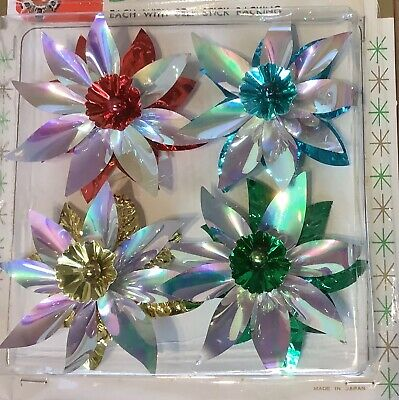 $ CDN20 • Buy VINTAGE CHRISTMAS PACKAGE DECORATIONS  IRIDESCENT  NEW IN PACKAGE 1960's