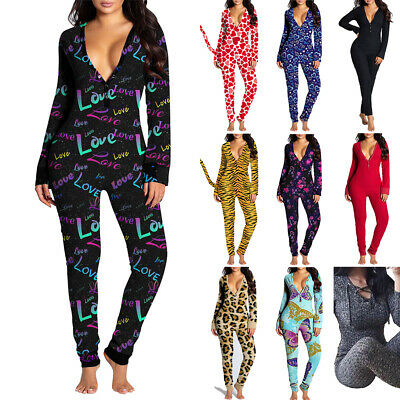 AU35.49 • Buy Women Sexy Bodycon All In One Jumpsuit Buttons Casual Long Sleeve Loungewear AU