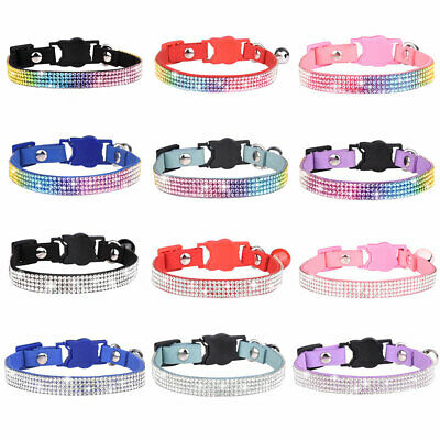 £2.99 • Buy Bling Rhinestone Pet Dog Collars Cat Head Buckle Puppy Cat Necklace With Bells