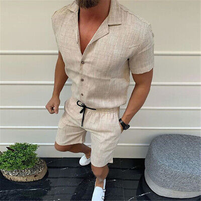 £24.99 • Buy Mens Summer Outfit 2-Piece Set Short Sleeve T Shirts Shorts Cotton And Linen Set
