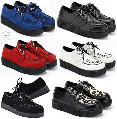 £24.95 • Buy Womens Lace Up Casual Creepers Shoes Lace Up Platform Brothel Leather Boots