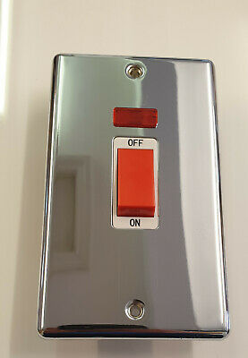 £2.95 • Buy 45A Double Pole Polished Chrome Switch With Neon ON/OFF Indicator Inc Fixings