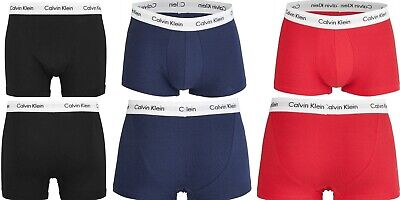 £16.99 • Buy CK, Calvin Klein Cotton Stretch – Low Rise Trunks, Classic Fit Black, Navy, Red