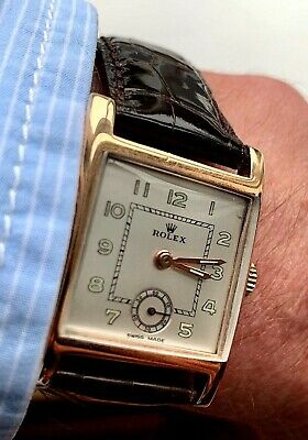 $ CDN172.10 • Buy ROLEX 9CT GOLD SQUARE GENTS WRISTWATCH 1940s VINTAGE WITH ROSEWOOD BOX