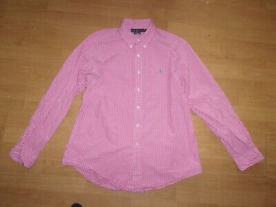 AU10.88 • Buy Ralph Lauren Custom Fit Red & White Checked Long Sleeve Mens Shirt Size XL