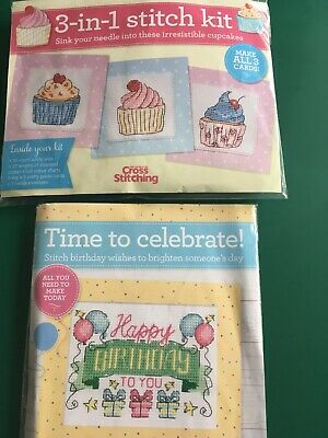 £1.50 • Buy Time To Celebrate Birthday Card & 3 In 1 Cupcake Cards Cross Stitch Kits