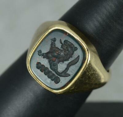 £775 • Buy Substantial Bloodstone Intaglio And Yellow Gold Unisex Signet Lion Seal Ring