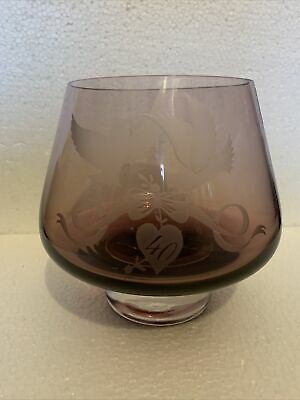 £11 • Buy Caithness Glass Amethyst Bowl 40th Ruby Wedding Anniversary Etched Love Birds