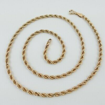 £84.99 • Buy 9ct Yellow Gold 375 Rope Link Necklace 16  X 2 Mm Full Hallmark 3 G