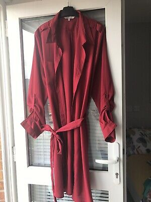 £2 • Buy Size 18 From Peacocks, Red Calf Length Belted Shirt Dress