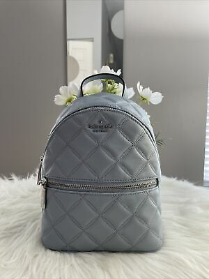 $ CDN170.51 • Buy New Kate Spade NATALIA Mini Convertible Quilted Backpack Leather Frosted Blue