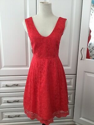 £10 • Buy Stunning Monsoon Fusion Coral Pink Red Lined Lace Skater Dress Size 8