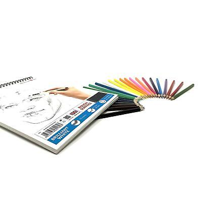 £9.99 • Buy 200gsm Sketch Pad Drawing White Artist Paper SPIRAL Book + 24 Colour Pencils