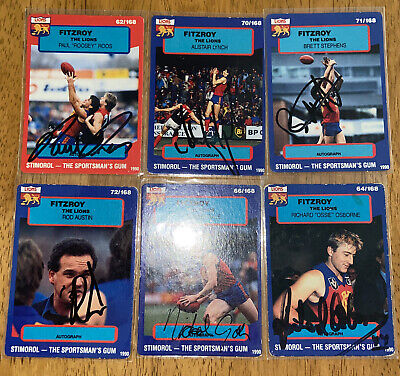 AU48 • Buy AFL STIMOROL 1990 Signed Fitzroy Lions Cards X6