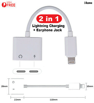 AU8.99 • Buy Dual Lightning Charging And Earphone Jack Charger Adapter Cable For IPhone Split