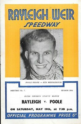 £3.99 • Buy 1956 Rayleigh V Poole Speedway Programme (19/5/56)