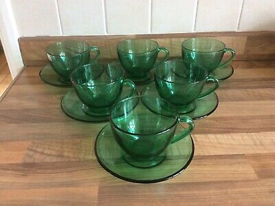 £19.99 • Buy 6 Arcoroc Vintage Retro Emerald Green Glass Tea Coffee Cups Saucers French Pyrex