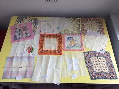 £10 • Buy Vintage Ladies Flower Power + Mabel Lucy Atwell + 12 Other Handkerchiefs