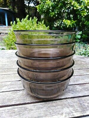 £15 • Buy Arcoroc Smoked Glass Vintage Dessert Cereal Bowls  France X5