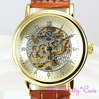 £28.99 • Buy Gold Plt Windup Mechanical Skeleton Steampunk Tan Leather Unisex Watch