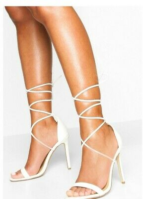 £6.99 • Buy Boohoo Ankle Tie  Stiletto Sandals In White Uk 6 Eur 39 New