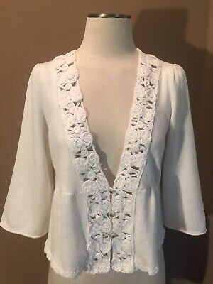 $ CDN42.34 • Buy Anthropologie Knitted & Knotted Large 100% Cotton White Cardigan Sweater