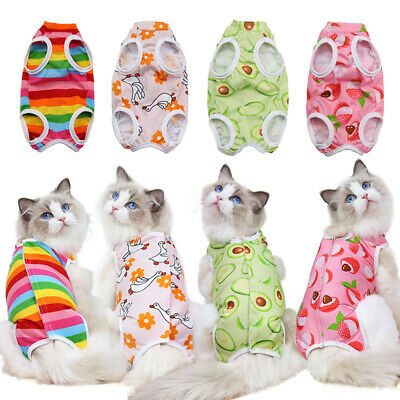£3.59 • Buy Soft Cat Recovery Suit Clothes After Surgery Striped Fruit Pet Weaning Surgical