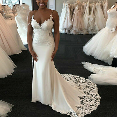 $ CDN157.28 • Buy Sexy Lace Wedding Dresses Spaghetti Straps Appliques Mermaid African Bridal Gown