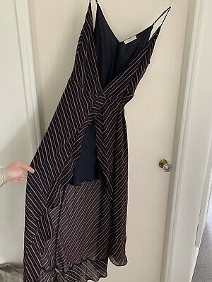 £8 • Buy Oasis Wrap MAXI Summer Navy Stripe Dress Size UK12 Medium, Immaculate Condition