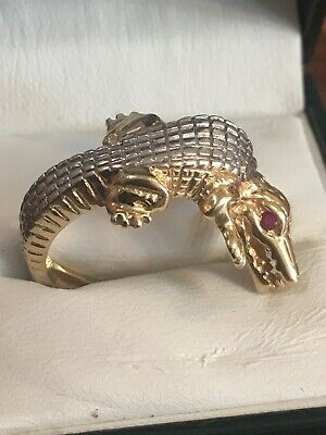 £349.99 • Buy 14ct Yellow Gold Crocodile Ring With Ruby Eyes Adjustable Hallmarked 6.17g