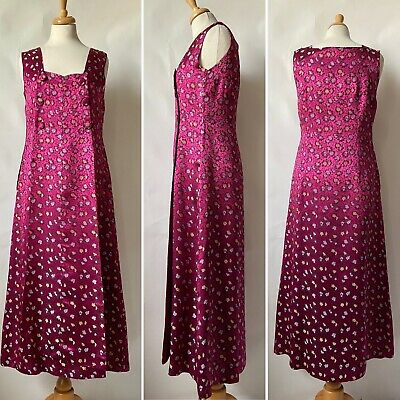 £50 • Buy Vintage 1950s 1960s Pink Gold Satin Patterned Evening Dress Gown Size 12 14